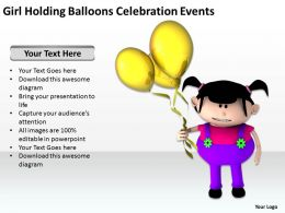 Girl Holding Balloons Celebration Events Ppt Graphic Icon