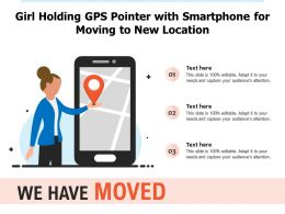 Girl Holding GPS Pointer With Smartphone For Moving To New Location