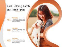 Girl Holding Lamb In Green Field