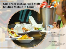 Girl Order Dish At Food Stall Holding Mobile In Hand