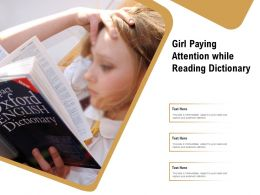 Girl Paying Attention While Reading Dictionary