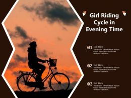 Girl Riding Cycle In Evening Time