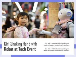 Girl Shaking Hand With Robot At Tech Event