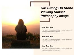 Girl Sitting On Stone Viewing Sunset Philosophy Image
