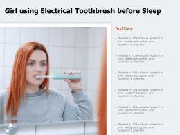 Girl Using Electrical Toothbrush Before Sleep