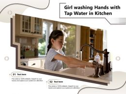 Girl Washing Hands With Tap Water In Kitchen