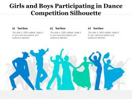 Girls And Boys Participating In Dance Competition Silhouette