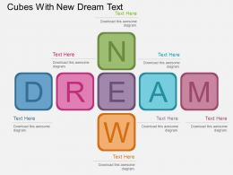 Gj Cubes With New Dream Text Flat Powerpoint Design
