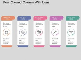 Gj Five Colored Colums With Icons Flat Powerpoint Design