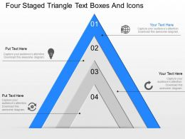gj Four Staged Triangle Text Boxes And Icons Powerpoint Template