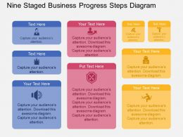 gj Nine Staged Business Progress Steps Diagram Flat Powerpoint Design