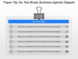gj Paper Clip Six Text Boxes Business Agenda Diagram Powerpoint Template