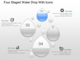 gk Four Staged Water Drop With Icons Powerpoint Template