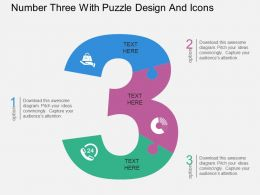 gk Number Three With Puzzle Design And Icons Flat Powerpoint Design