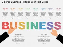 Gl Colored Business Puzzles With Text Boxes Flat Powerpoint Design