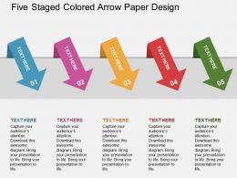 Gl Five Staged Colored Arrow Paper Design Flat Powerpoint Design
