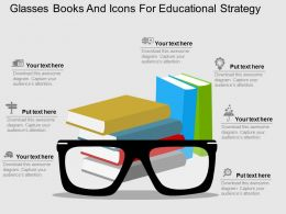 Glasses Books And Icons For Educational Strategy Flat Powerpoint Design
