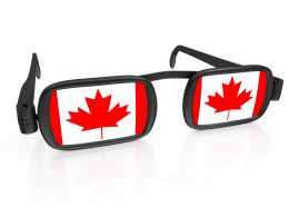 Glasses With Flag Of Canada Stock Photo