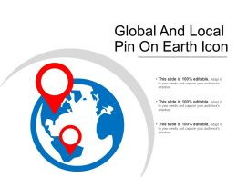 Global And Local Pin On Earth Icon