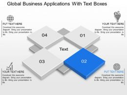Global Business Applications With Text Boxes Powerpoint Template Slide