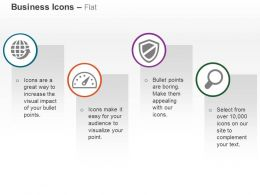 Global Business Dashboard Safety Shield Search Ppt Icons Graphics