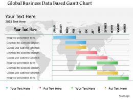 Global Business Data Based Gantt Chart Flat Powerpoint Design