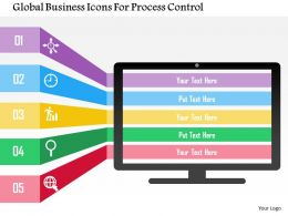 Global Business Icons For Process Control Flat Powerpoint Design