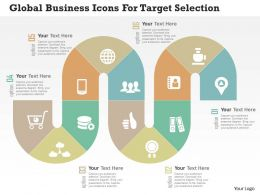 Global Business Icons For Target Selection Flat Powerpoint Design