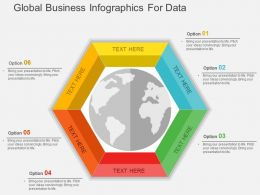 Global Business Infographics For Data Flat Powerpoint Design