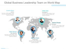 Global Business Leadership Team On World Map Powerpoint Slide Themes