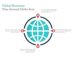 Global Business Pins Around Globe Icon