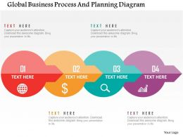 Global Business Process And Planning Diagram Flat Powerpoint Design