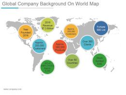 Global Company Background On World Map Powerpoint Slides Design