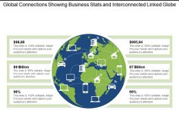 Global Connections Showing Business Stats And Interconnected Linked Globe