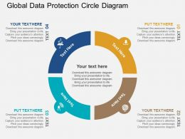 Global Data Protection Circle Diagram Flat Powerpoint Design