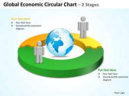 global economic circular chart 2 stages powerpoint diagrams presentation slides graphics 0912
