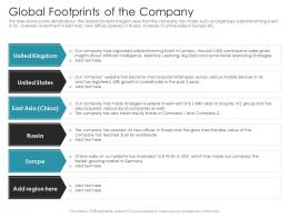 Global Footprints Of The Company Pitch Deck Raise Debt IPO Banking Institutions Ppt Information