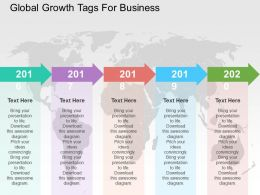 Global Growth Tags For Business Flat Powerpoint Design