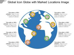 Global Icon Globe With Marked Locations Image