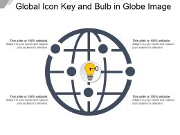Global Icon Key And Bulb In Globe Image