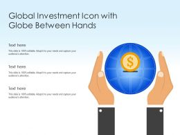Global Investment Icon With Globe Between Hands