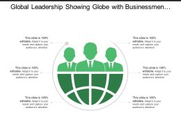 Global Leadership Showing Globe With Businessmen Silhouette