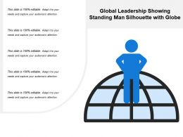 Global Leadership Showing Standing Man Silhouette With Globe