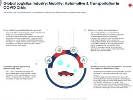 Global Logistics Industry Mobility Automotive And Transportation In Covid Crisis Ppt Powerpoint Icon