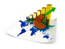Global Map With Bar Graph And Growth Arrow Pie Chart Stock Photo