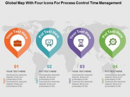 Global Map With Four Icons For Process Control Time Management Flat Powerpoint Design