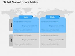 Global Market Share Matrix Flat Powerpoint Design