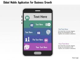 Global Mobile Application For Business Growth Flat Powerpoint Design