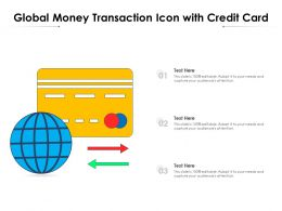 Global Money Transaction Icon With Credit Card