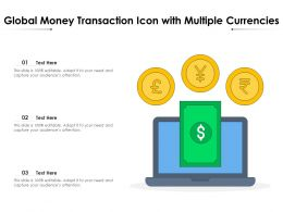 Global Money Transaction Icon With Multiple Currencies